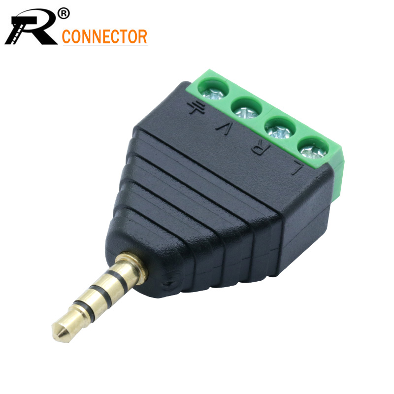 1PC Video AV Balun 3.5mm 4 Pole Stereo Male To AV Screw Terminal Stereo Jack 3.5 Mm Male 4 Pin Terminal Block Plug Connector