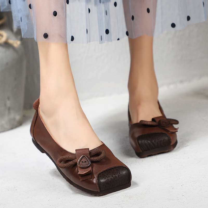 Button Design Leisure Shoes For Women New Arrival Square Toe Real Cow Leather Flats Lady Vintage