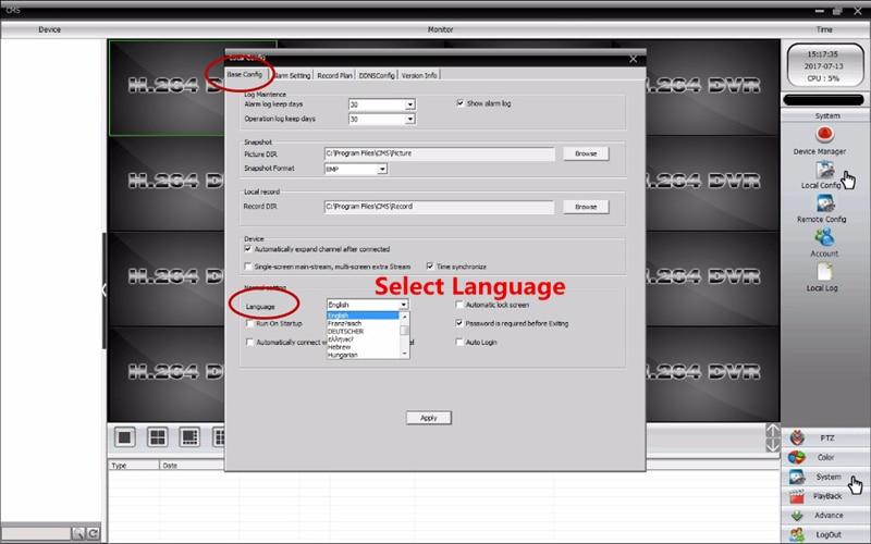 IP Camera Language
