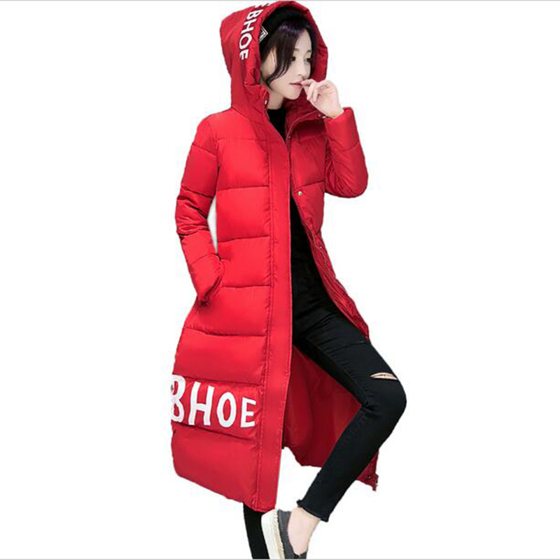 Nice New Fashion Long Winter Jacket Women Slim Female Coat Thicken Parka Cotton Clothing Hooded Student Warm Overcoat LU214 2017 women winter coat hooded thicken cotton coats female students overcoat slim warm outwear cotton padded long jacket parka