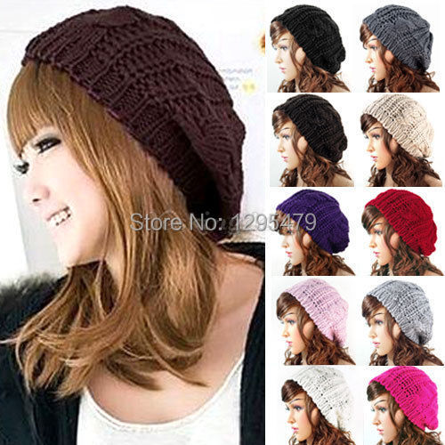New Arrival Promotion Solid Adult Hats For Hats Gorros Lady Winter Warm Knitted Crochet Slouch Baggy Beret Beanie Hat Cap 2017 new women ladies cable knitted winter hats bonnet femme cotton slouch baggy cap crochet beanie gorros hat for women