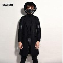 2017 новых людей шерсть outwer мужской моды случайные зима весна длинные пальто кожа сращивания мужские улица панк хип-хоп шерстяные куртки SY37