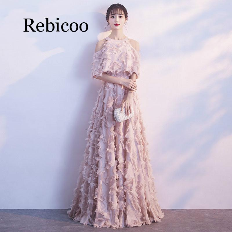 Rebicoo 2019 hanging neck noble long slimming elegant slim jacket open back strapless down dress in Dresses from Women 39 s Clothing