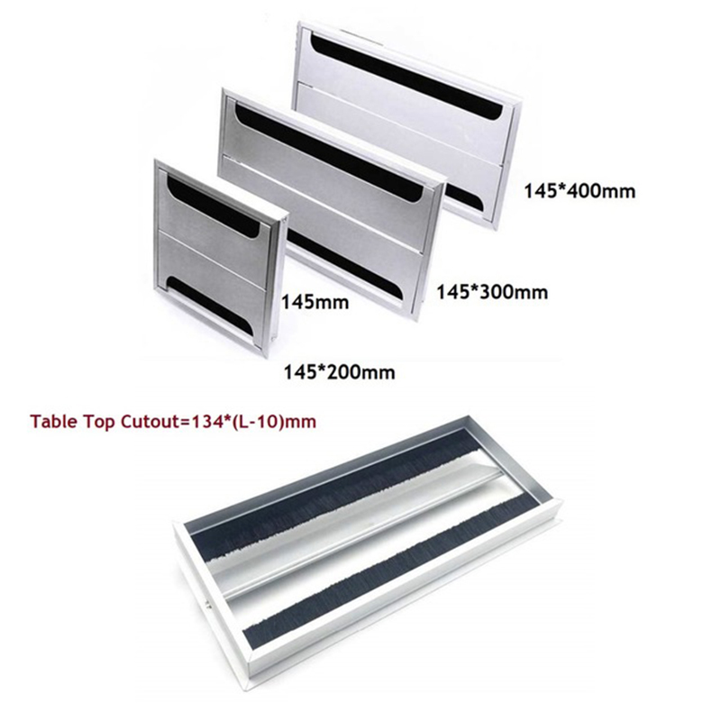 Rectangle Aluminum Office Table TV Cabinet Desk Wire Cable Hole Brush Double Flap Cover Grommet Side by Side