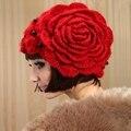 Корейских Женщин Мода Красный Вязаная Шапка Зима Теплая Мохер Берет Шляпу Ручной Работы Цветок Skullies Шапочки