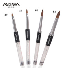 Retail 1Pc ANGNYA Acrylic Nail Art Brush Black Acrylic Metal Handle W Rhinestone Kolinsky Sable Brush Size 2# 4# 6# 8#