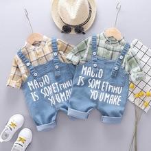 New Autumn Toddler Infant Clothing Sets Baby Boys Girls Clothes Suits Plaid Shirt Denim Bib Pants Children Costume Kids Suit цена