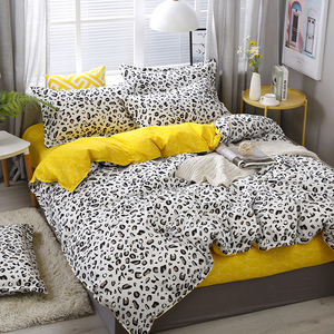 Image 1 - Yellow white Leopard Print Home Bedding Sets Duvet Cover Bed Set Pillowcase Flat Sheet King Queen Double Twin 3/4pcs bed sets