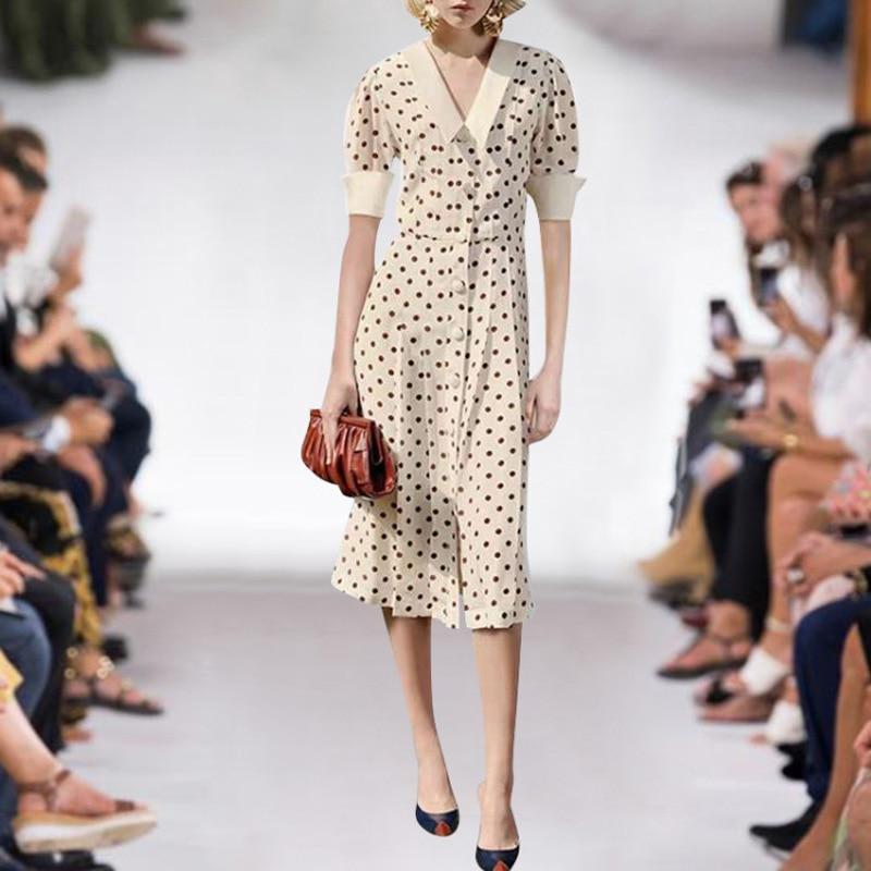 Milan Runway projektant wysokiej jakości 2019 lato nowy moda damska pracy Party Sexy Sexy elegancki, elegancki Dot szyfonowa przycisk sukienka w Suknie od Odzież damska na AliExpress - 11.11_Double 11Singles' Day 1