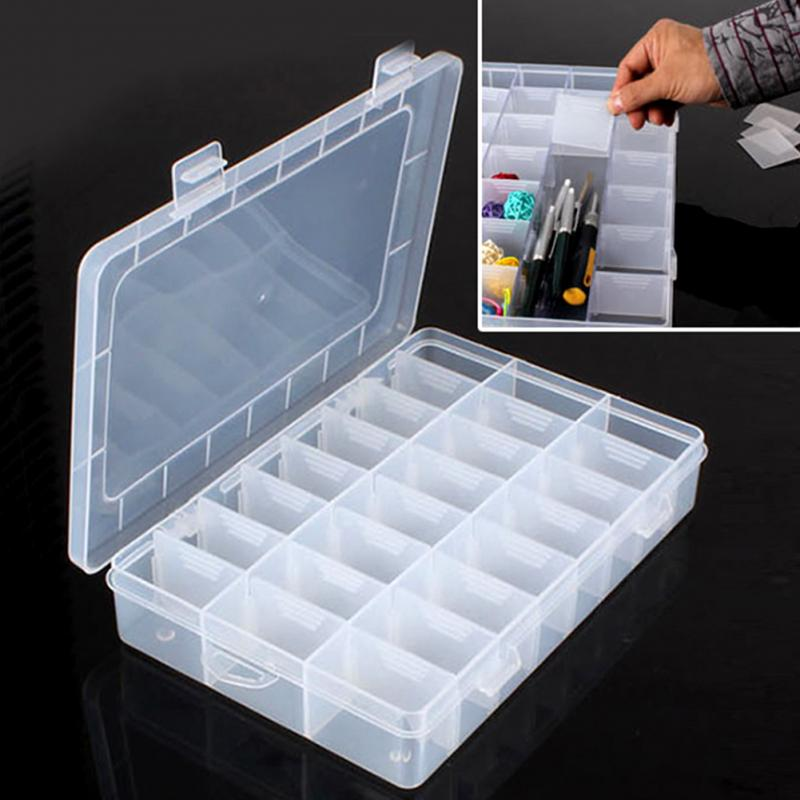 Plastic 24 Compartments Ornaments Jewelry Storage Box Adjustable