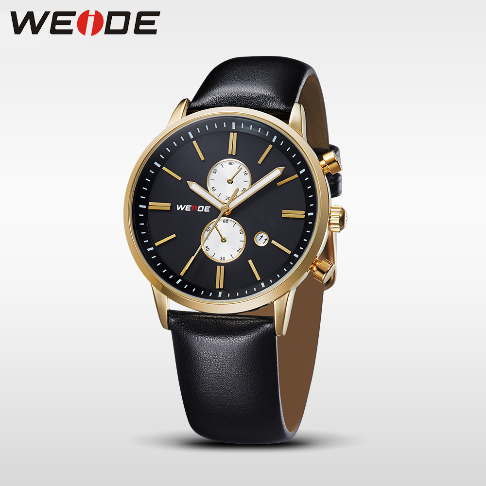 WEIDE Brand Men Sport Black Calendar Date Quartz Analog Watches Leather Strap Hardlex Buckle Wrist Watches Army Military Classic