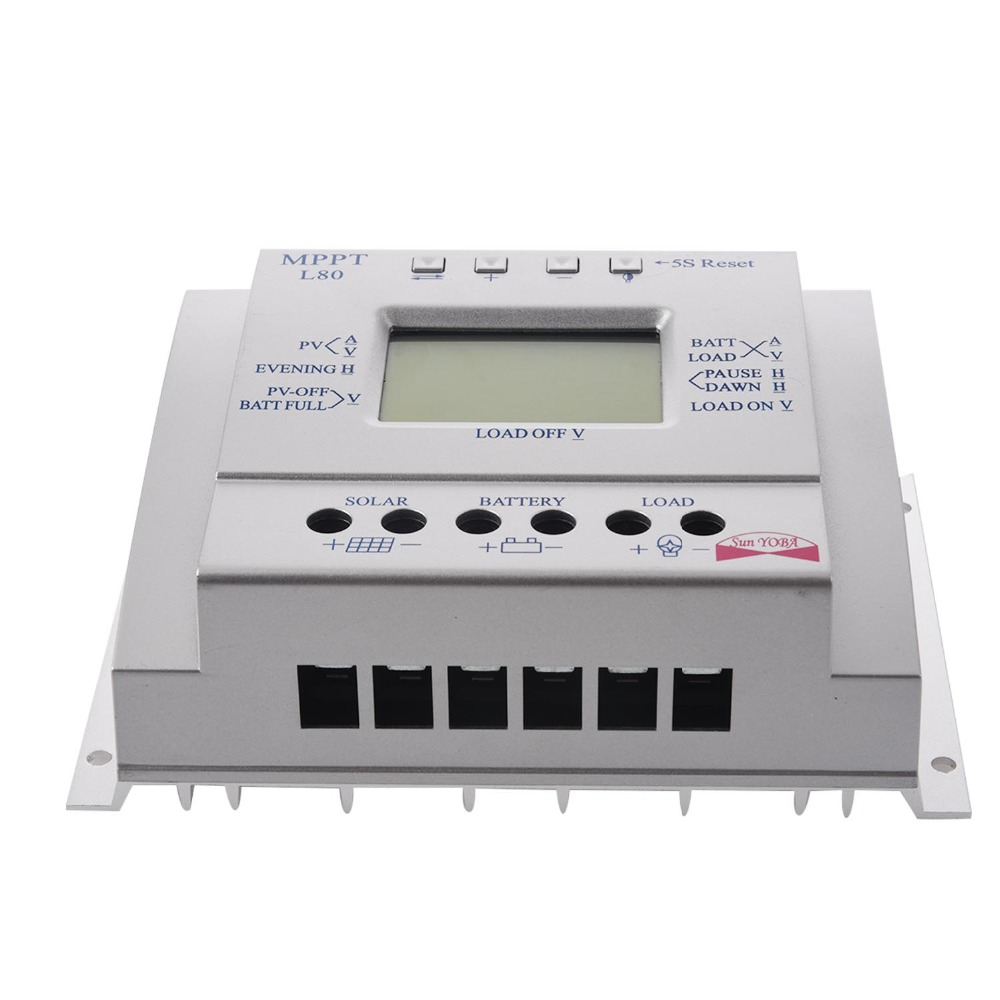 цены Solar Panel Battery Charge Controller 60A 80A MPPT Solar Panel Charge Control 12V 24V Battery Regulator colour Silver