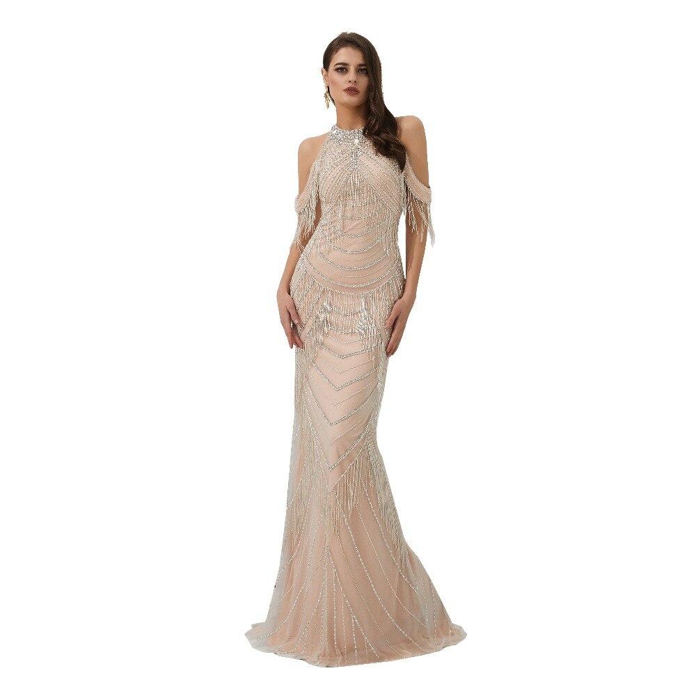 Élégante longue Robe De soirée 2019 perles gland Vestido De Festa or Robe formelle sirène robes De bal Robe De soirée 99316