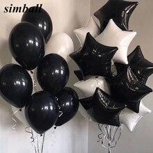 10 unids/lote de Globos de aluminio de estrellas blancas y negras de 18 pulgadas, materiales de decoración de cumpleaños, Globos de helio de 2,3g, juguetes para bebés, Globos