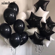 10pcs/lot 18inch White Black Star Foil Balloons Birthday Wedding Party Decoration Supplies 2.3g Helium Globos Baby Toys Balloons