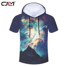 CJLM Man Personality Colorful Hooded Tshirt 3D Starry Sky Full Printed Men's Tee Shirt Wholesale Oversized Spandex T-shirt(Hong Kong,China)