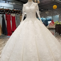 LS01450 muslim plus size wedding dress 2018 high neck long sleeve ball gown high quality bridal gown long veil quick shipping
