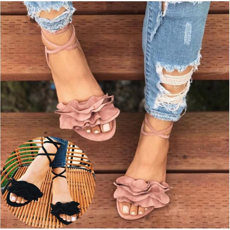 Woman Shoes Summer Cross Bandage Sandals Flats Lace up Ankle Strap Sandalias Mujer Women s Shoes Innrech Market.com