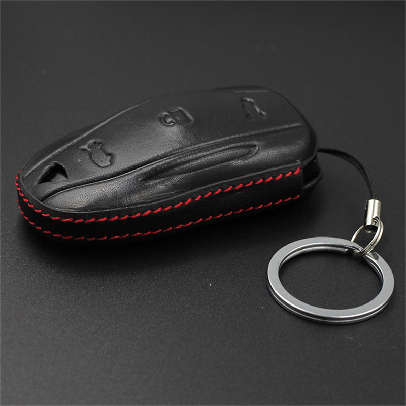 lowest price Black Red Genuine Leather Car Key Protection Cover Case Full Protective Key Fob for Tesla Model X S Remote holder accessories