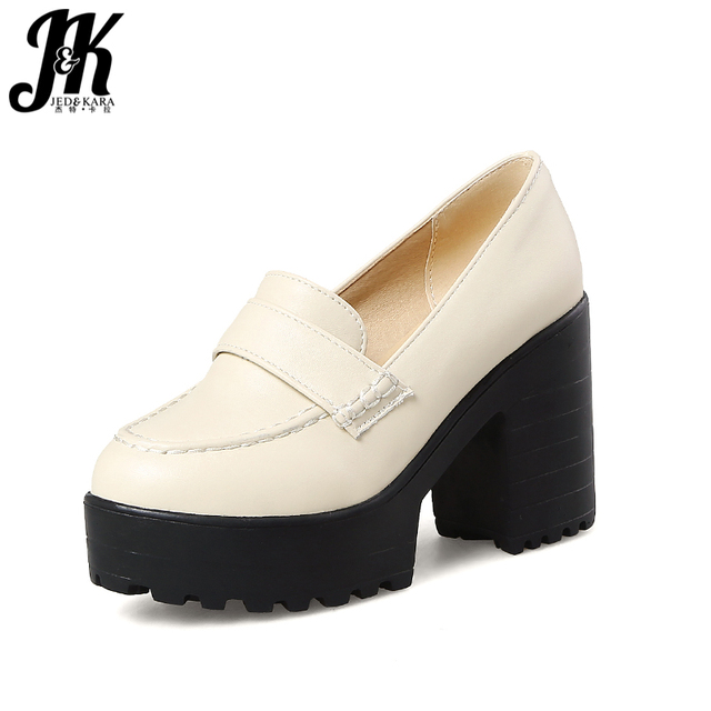 JK Spring Thick High Heels Women Pumps Round Toe Square Heels Footwear 2018 New Fashion Office Ladies Platform Shoes Big Size