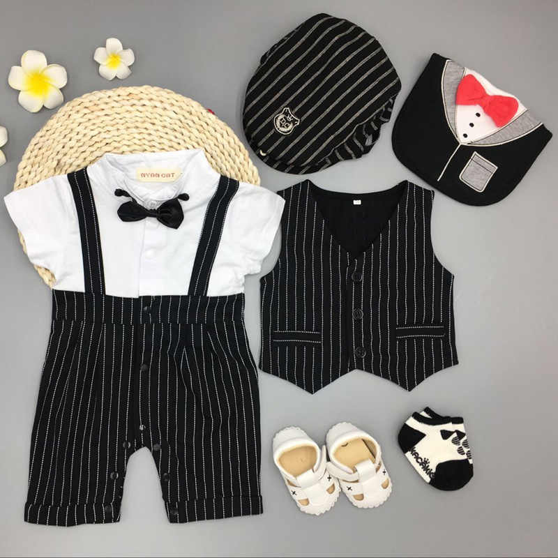 4aa6a94cb Infant Newborn baby boys clothing wedding birthday Tuxedo cotton Vest +bodysuit+hat+bib