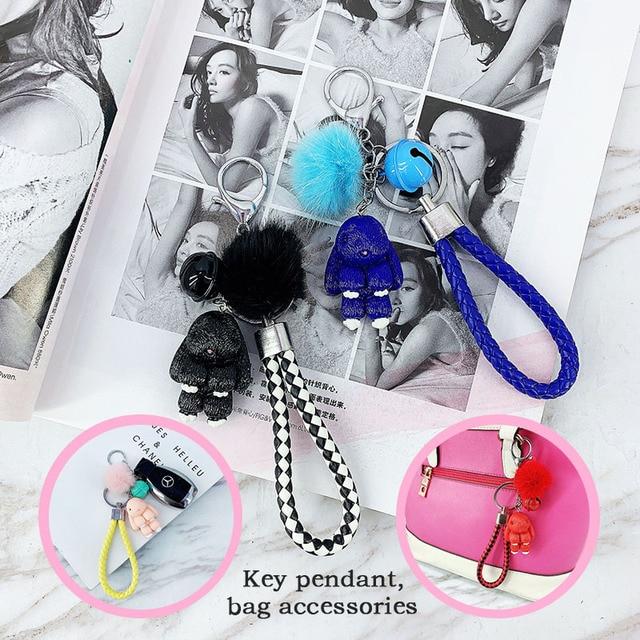 Rabbit Keychain Pokemon Fluffy Fur Ball Key Chains for Women Bags Pendant Decoration Pom Poms Keyring Fashion Kids Easter Gifts 2