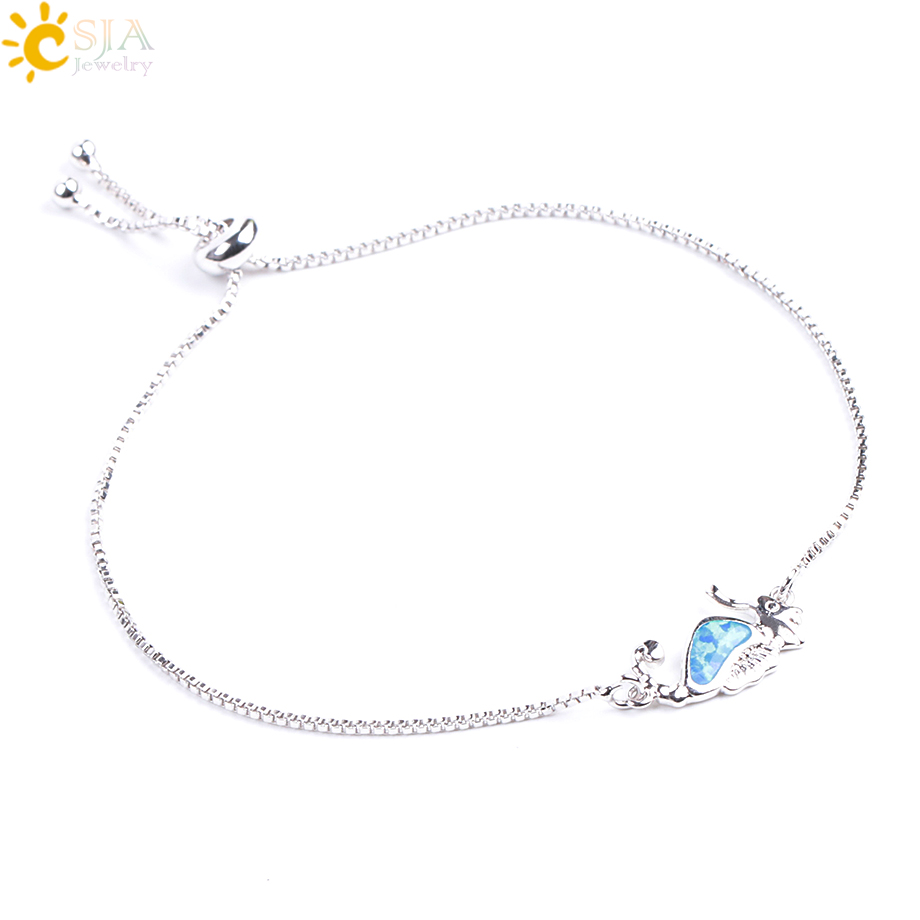 CSJA Blue Opal Bracelet Crab Jellyfish Shaped Beads Thin Link Chain Adjustable Length Bangles for Women Girls Charm Jewelry F082