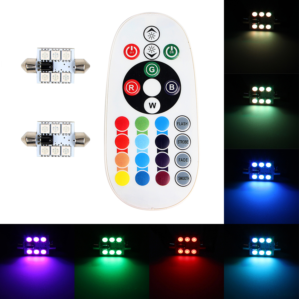 iTimo 1 Pair Car Dome Interior Lights with Remote Control LED Car Reading Lights Colorful 5050 6 SMD DC 12V Atmosphere Lamps цена и фото