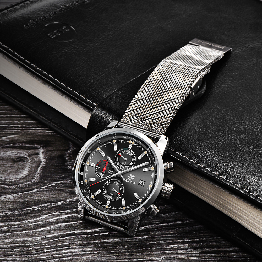 Benyar Men Watch Top Brand Luxury Male Mesh Quartz Chronograph Military Waterproof Wrist Watch Men Sport Clock relojes hombre in Quartz Watches from Watches