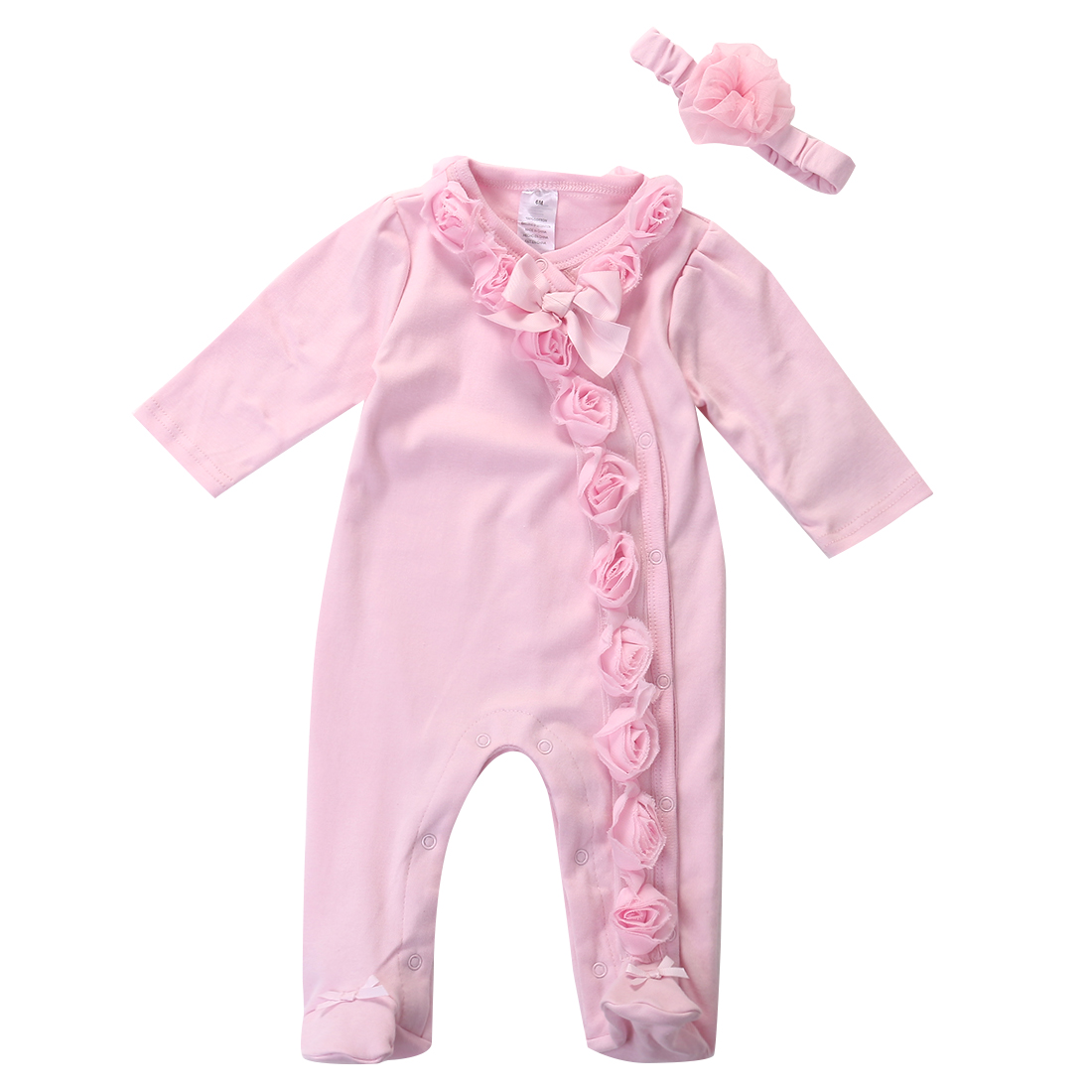 Long Sleeve Newborn Infant Baby Girls 0~7M Pink Flower Bow Footies +Headband Clothes Outfits Set