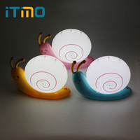 ITimo USB Rechargeable Lamp Baby Kids Novelty Lovely LED Night Light Snail Table Lamp Sleeping Bedroom