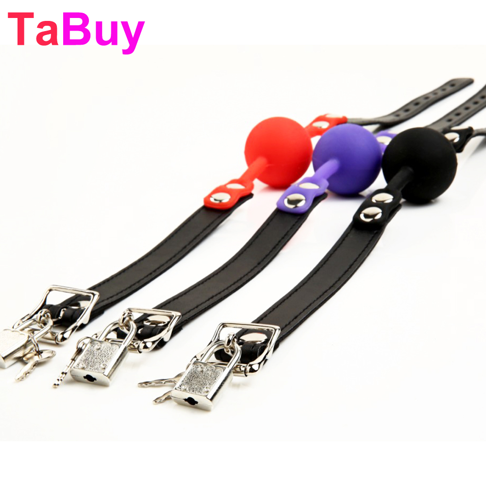 Tabuy Sex Products Toys For Couples Bondage Restraints Solid Silicone Mouth Ball Gag With Lock Fetish Erotic BDSM Role Play