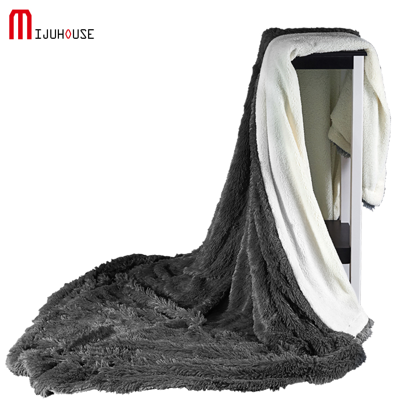 Thick Sherpa Double Layer Blanket Super Soft Throw Blanket On Sofa Bed Plane Travel Adult Velvet Mink Blankets 130 160 220 240cm in Blankets from Home Garden