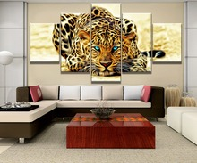 5 Piece Blue Eyes Yellow Leopard Tiger Animal Painting Canvas Wall Art Picture Home Decoration Living Room