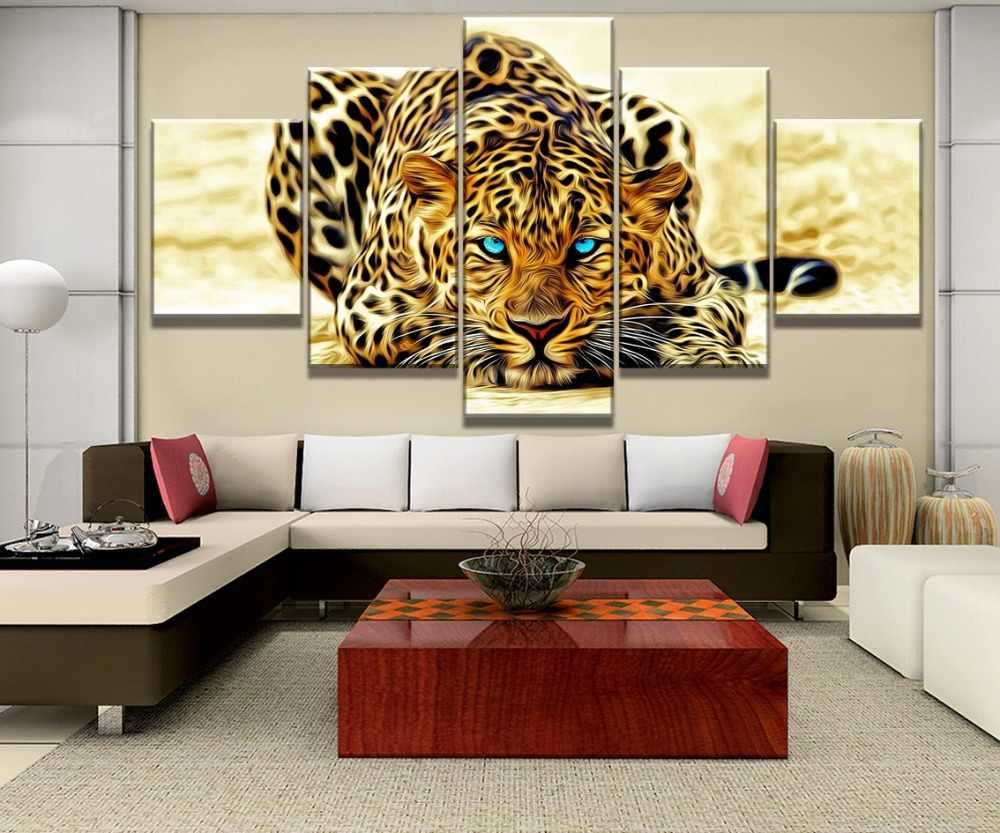 5 Piezas Ojos Azules Amarillo Leopardo Tigre Animal Pintura Lienzo Pared Arte Decoración Del Hogar Sala De Estar Lienzo Pintura
