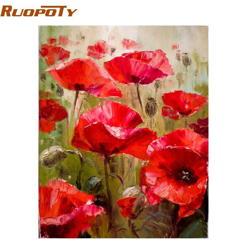 RUOPOTY flor roja abstracta DIY pintura por números Kits moderno Wall Art Picture pintura al óleo pintado a mano para la habitación ilustraciones 40X50