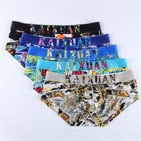 5PCS Men Casual Underwear Briefs Shorts Trunks Breathable Hole Men Cueca Briefs Shorts Underwear Printed Shorts Home Underpants