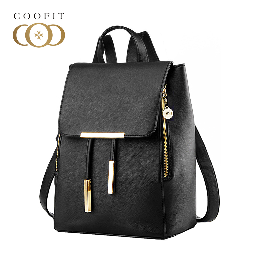 Coofit Ladies PU Leather Backpacks Preppy Style Drawstring School Bags For College Girls Buckle Flap Cover Woman Backpack Purses miwind famous brand preppy style leather school backpack bag for college simple design travel leather backpack bags tlj1082