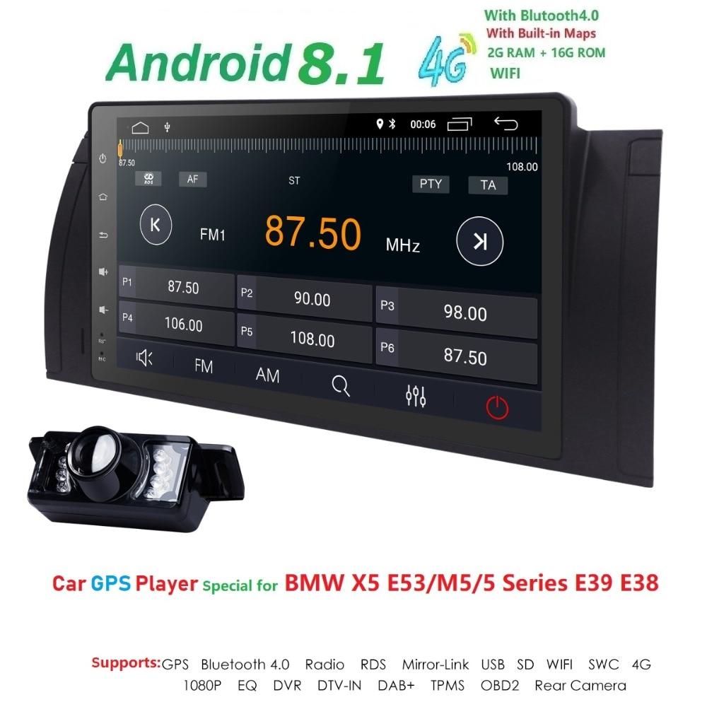 Android 8.1 1 Autoradio Din pour BMW E39 BMW X5 E53 E38 M5 multimédia sans lecteur DVD Audio stéréo unité de tête GPS Navigation Wifi 4G