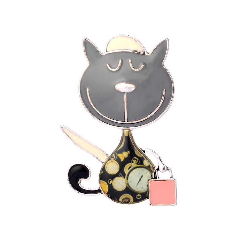 女性ブローチ亜鉛合金猫とハンドバッグファッション2018ジュエリーかわいいエナメルブローチピンドレスアクセサリー用女性ピン
