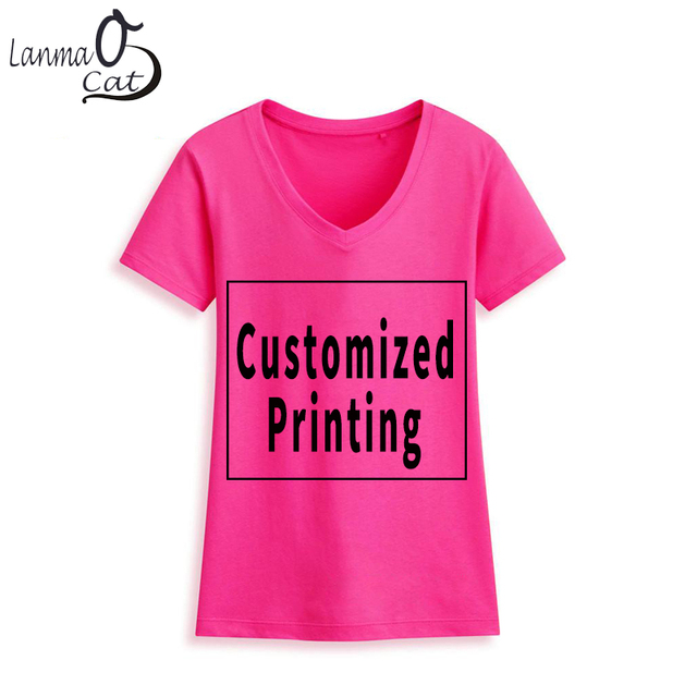 5342bf57 Lanmaocat Cotton T Shirts for Women Text T Shirt Customized Printed V Neck T  Shirts Design Your Own Summer Shirt Free Shipping