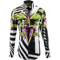 Paradise Bird Bamboo Pattern Shirts Men Slim Body Cotton Stripe Shirt Personality Basic Shirts M 4XL Casual Breathable Clothing