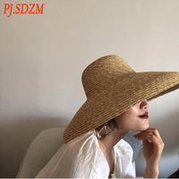 3PCS/LOT European Style Vintage Straw Hat Summer Sun Protection Shade Concave Hat Women Casual Beach Hat