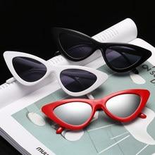 40f48b98b8 Ojo de Gato gafas de sol Sexy Linda dama gafas de sol rojo y negro gafas de  marco de espejo mercurio lente Color transparente