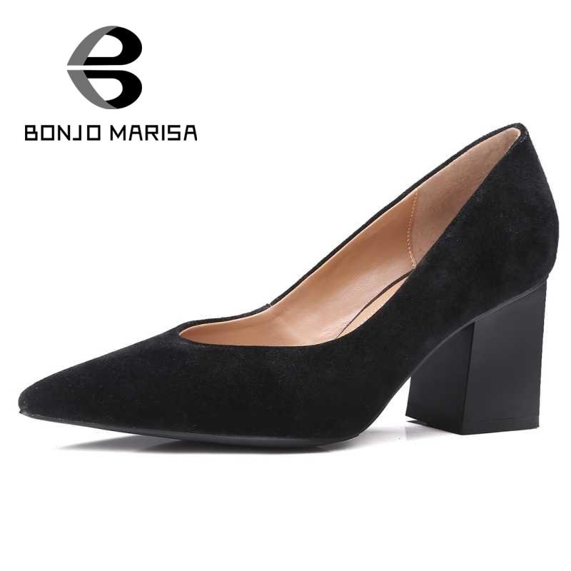 ФОТО BONJOMARISA Pointe Toe Women Pumps 2017 New Square High Heel Less Platform Pumps Party Wedding Office Ladies Footwear