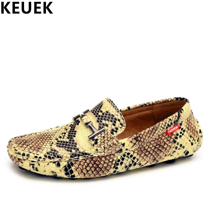 Summer Male Casual shoes Fashion Boat shoes Men Moccasins Serpentine pattern leather Slip On Flats Moccasins
