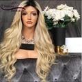 150% Необработанной Перуанский Человеческие Волосы Парики Блондинка Ломбер Полный Шнурок парики С Темными Корнями Волнистые Парик Фронта Шнурка Для Черного женщина