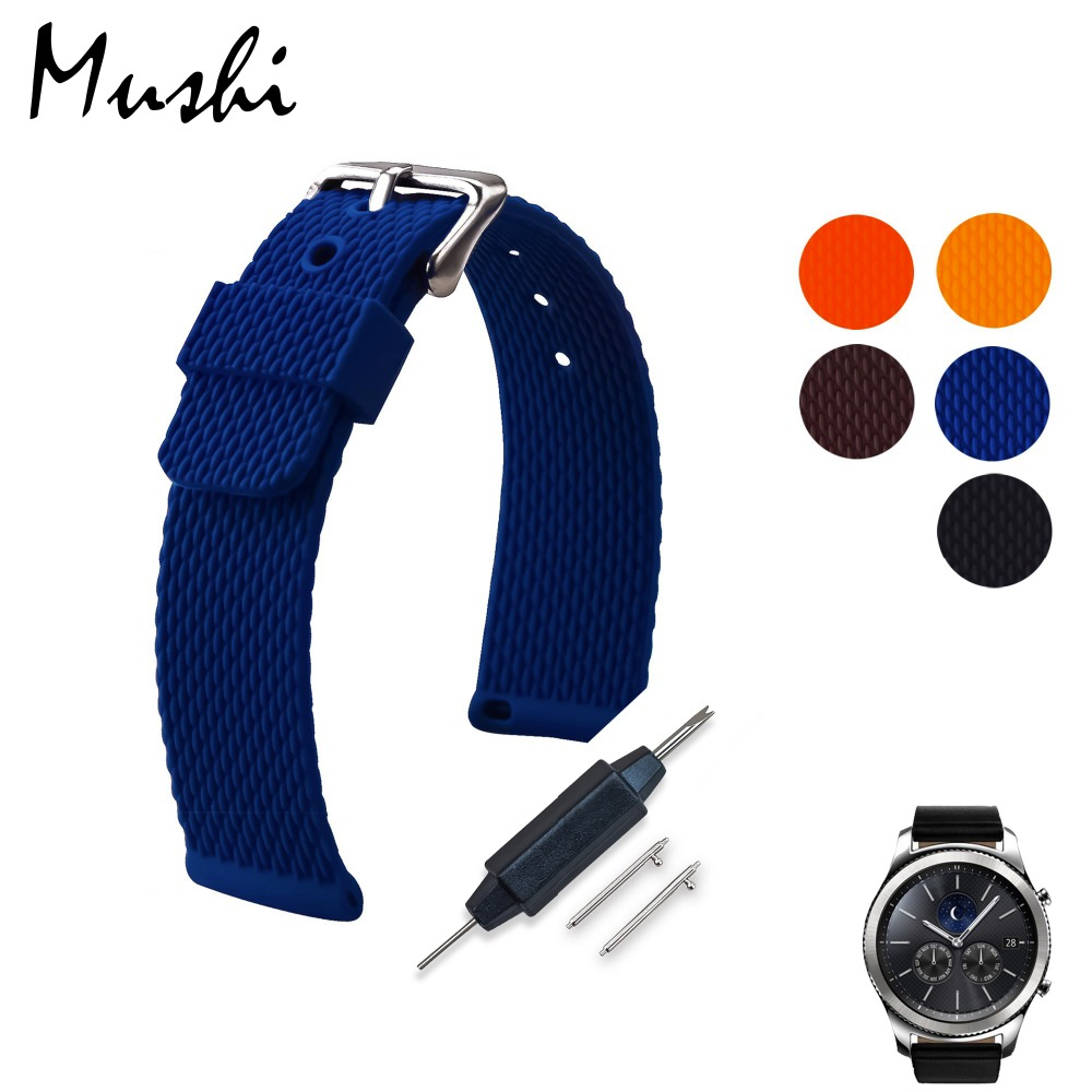 MS Silicon Watch Strap For Samusng Gear S3 Classic Frontier Rubber Watch Band with Quick Release Pins Belt Bracelet Strap 22mm 22mm silicone rubber watch band safety clasp strap for samusng gear s3 classic frontier garmin fenix chronos wrist belt bracelet