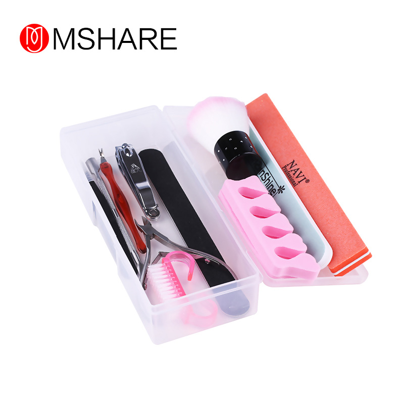 MSAHRE Rectangle Nail Storage Box Plastic Empty Tweezers Clippers Nails Brush Cuticle Pusher Nail Art Tool Nail Tools Case practical dual ways stainless steel cuticle pusher remover nail art tool