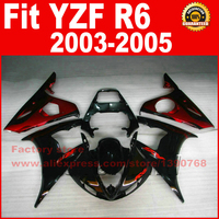 Hotsale Body for YAMAHA YZF-R6 fairing kits parts 2003 2004 2005 black red YZF R6 motorcycle fairings set bodywork kit 03 04 05